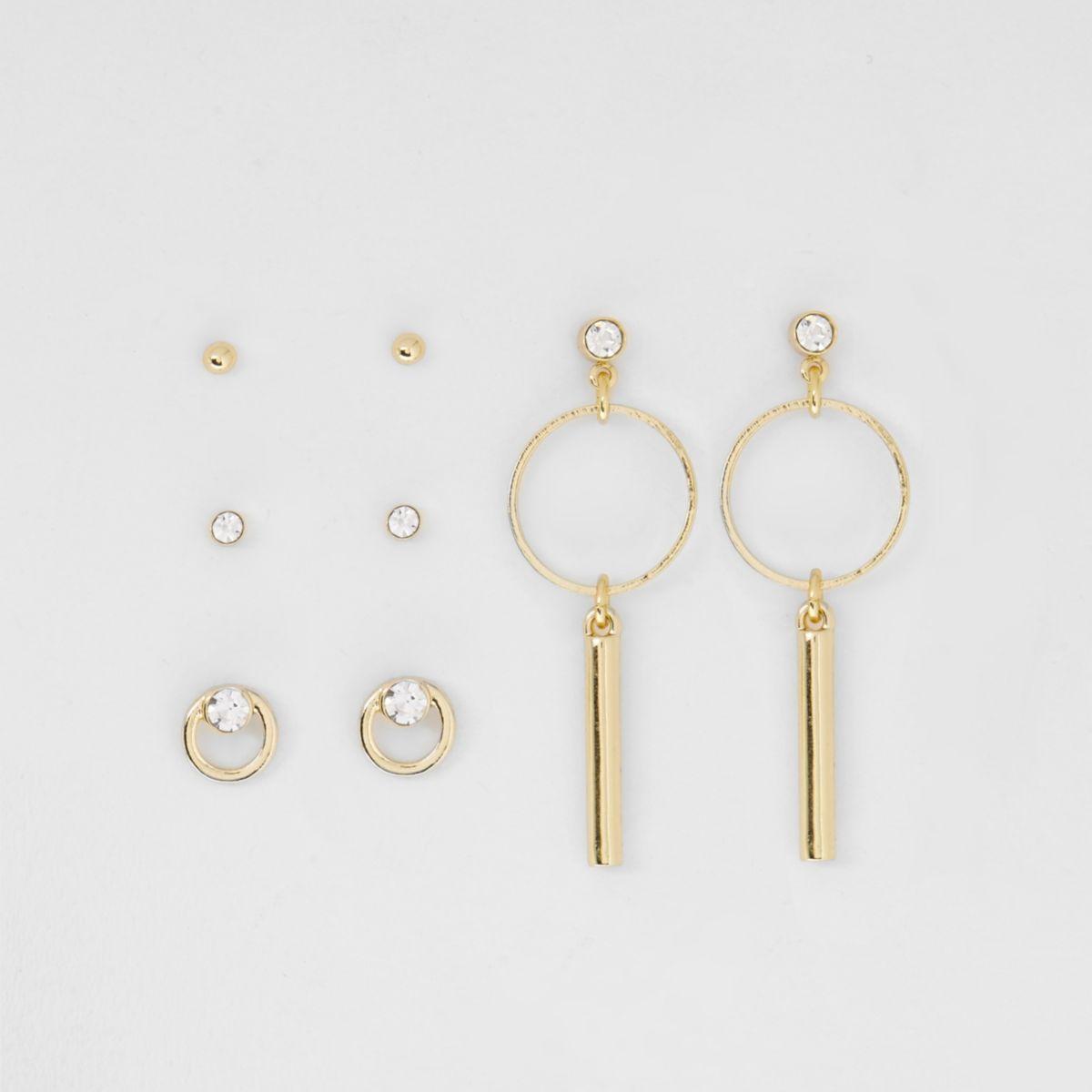 Goudkleurige oorbellenset met diamantjes