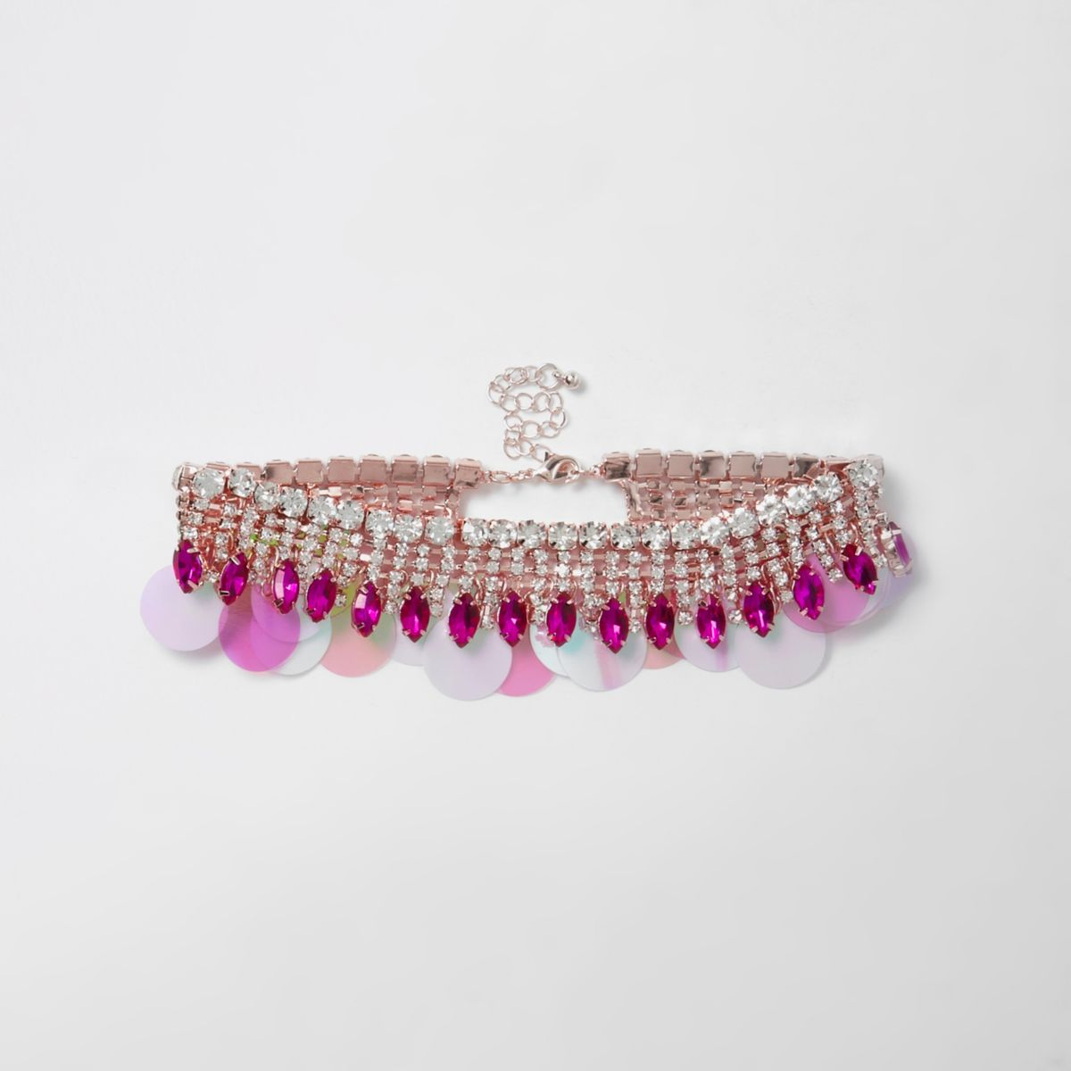 Pink cup chain sequin choker