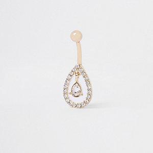 Goudkleurige druppelvormige navelpiercing met diamantjes