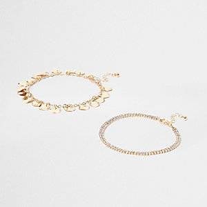 Gold tone hammered disc anklet multipack