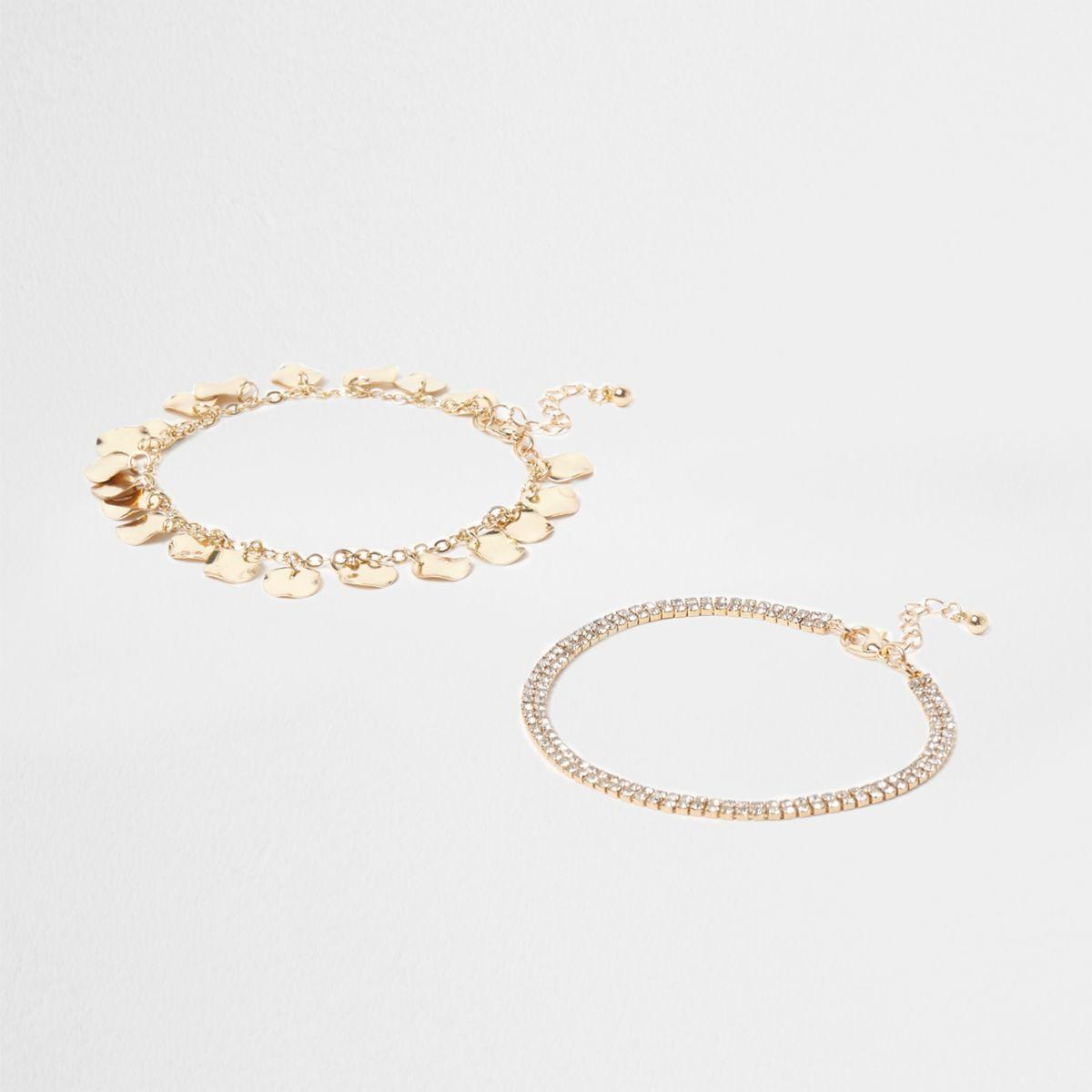 Multipack goudkleurige enkelbandjes met bewerkte cirkels