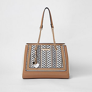 Beige woven panel chain tote bag