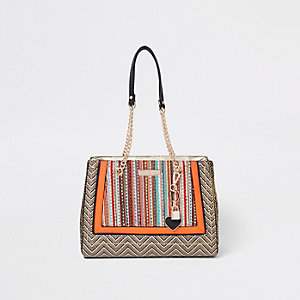 Orange woven panel charm tote bag