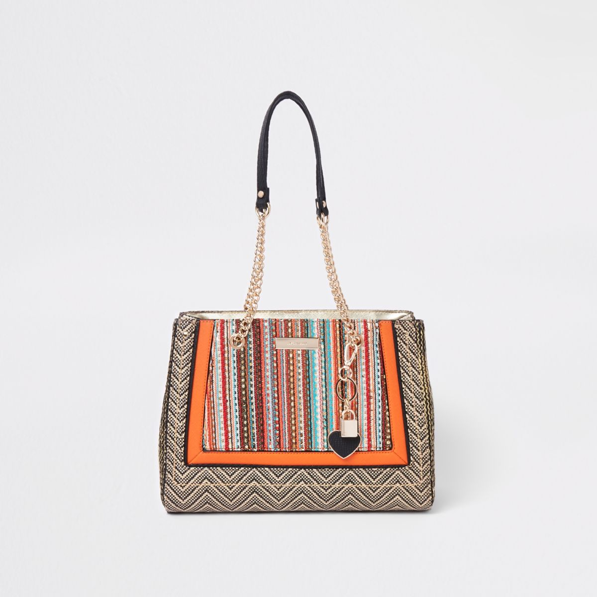 Orange woven panel charm tote bag