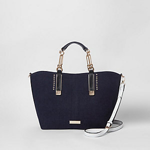Blue denim look eyelet stud tote bag