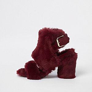 Red faux fur block heel shoe boots