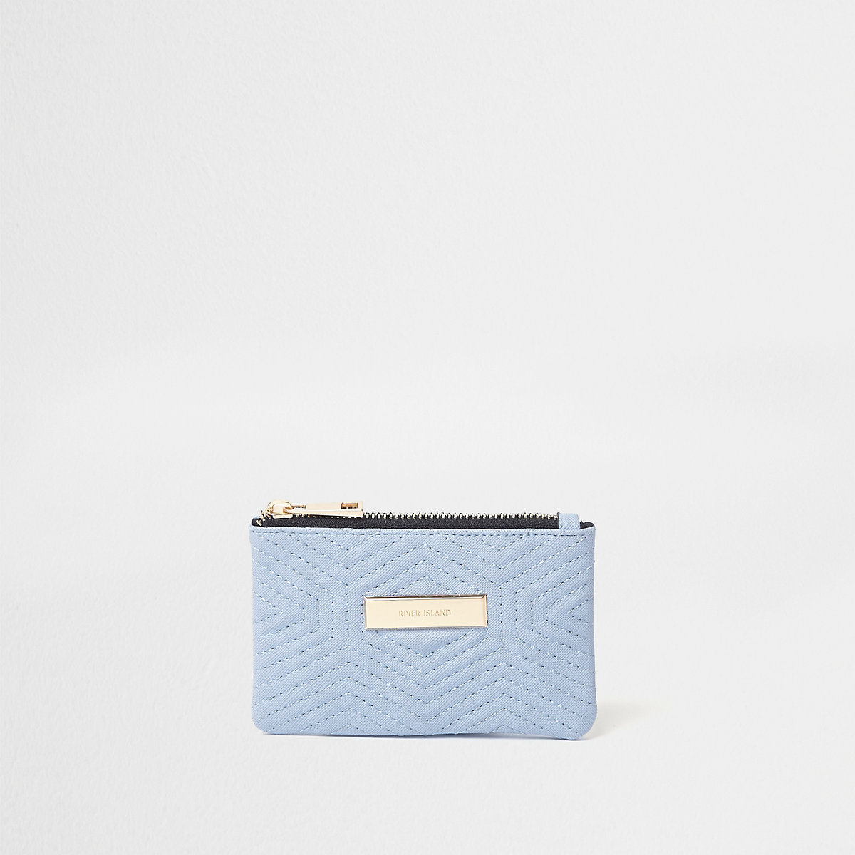 Blue quilted front mini purse