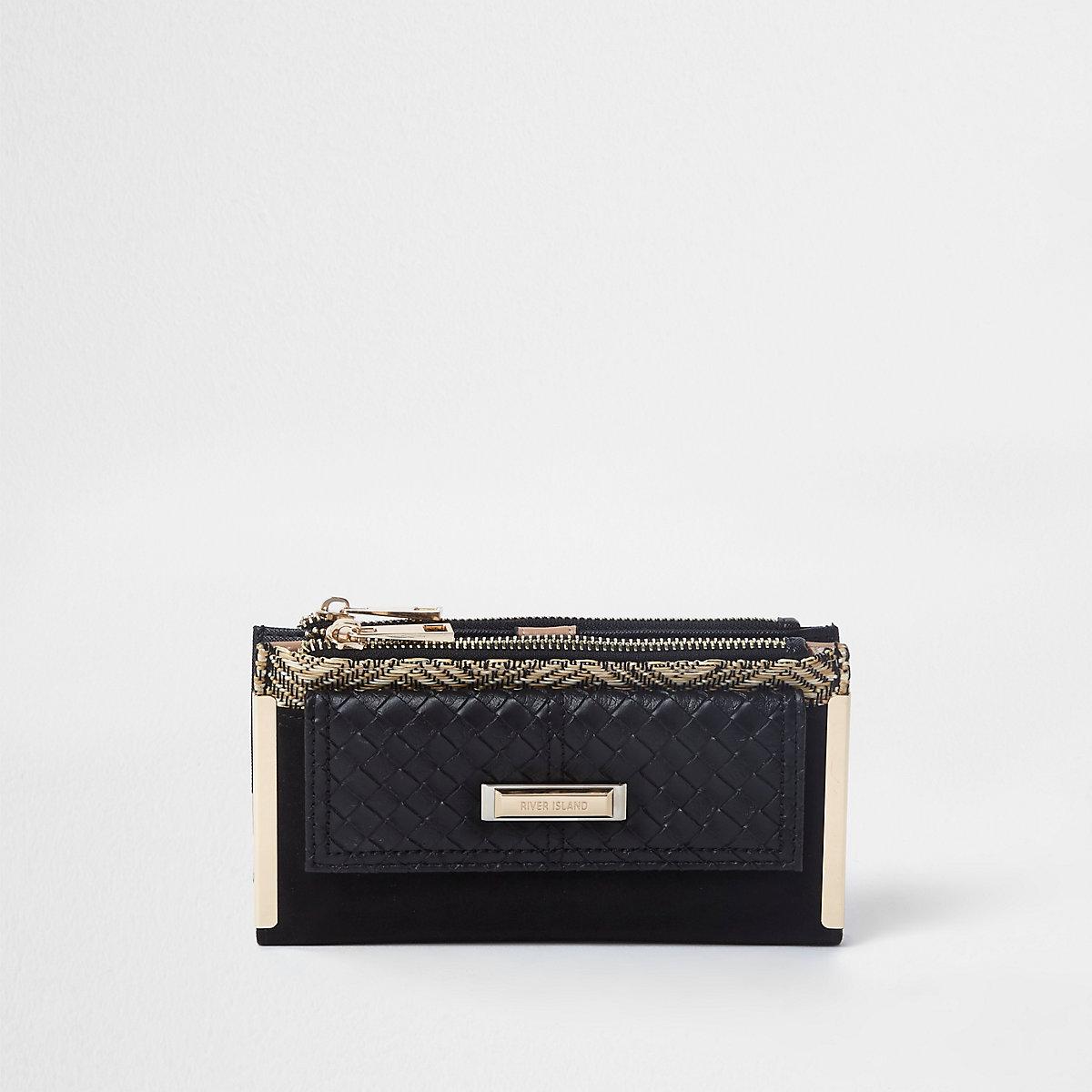 Black woven pocket slim foldout purse