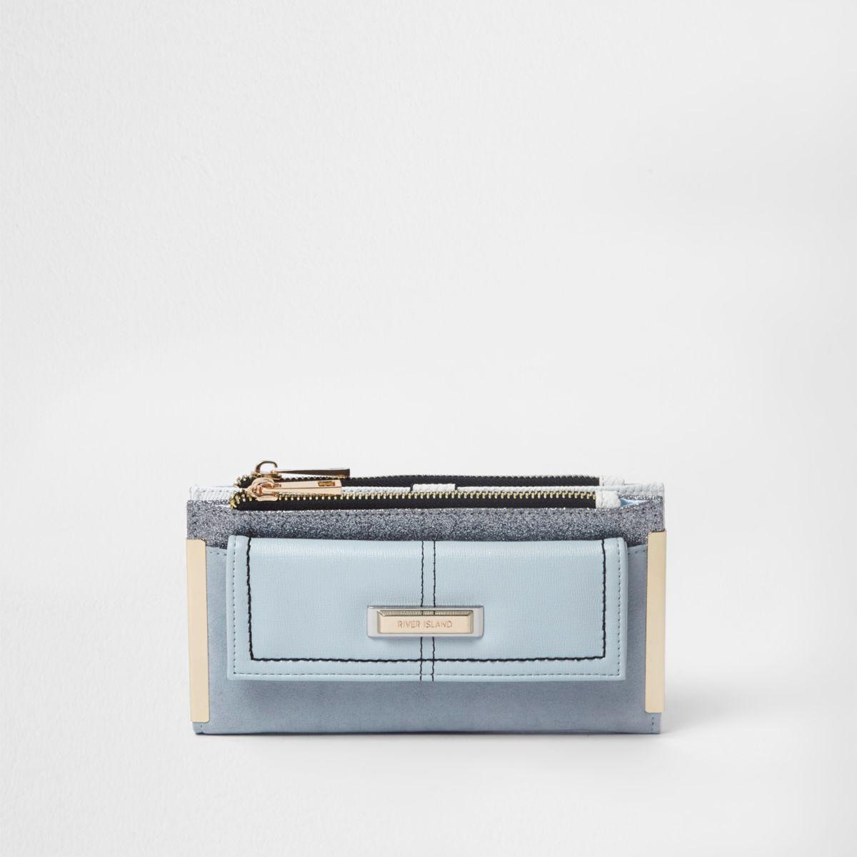 Blue glitter pocket front foldout purse