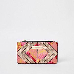 Rode smalle uitvouwbare portemonnee met uitsnede