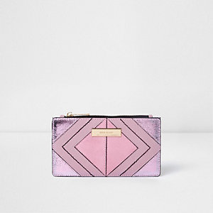 Pink metallic cutabout slim fold out purse