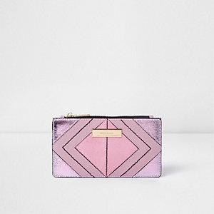 Roze metallic smalle uitvouwbare portemonnee met uitsnedes