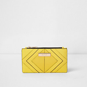 Smalle uitvouwbare gele portemonnee met ruitjespaneel