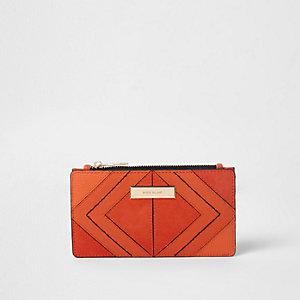Orange diamond panel slim foldout purse