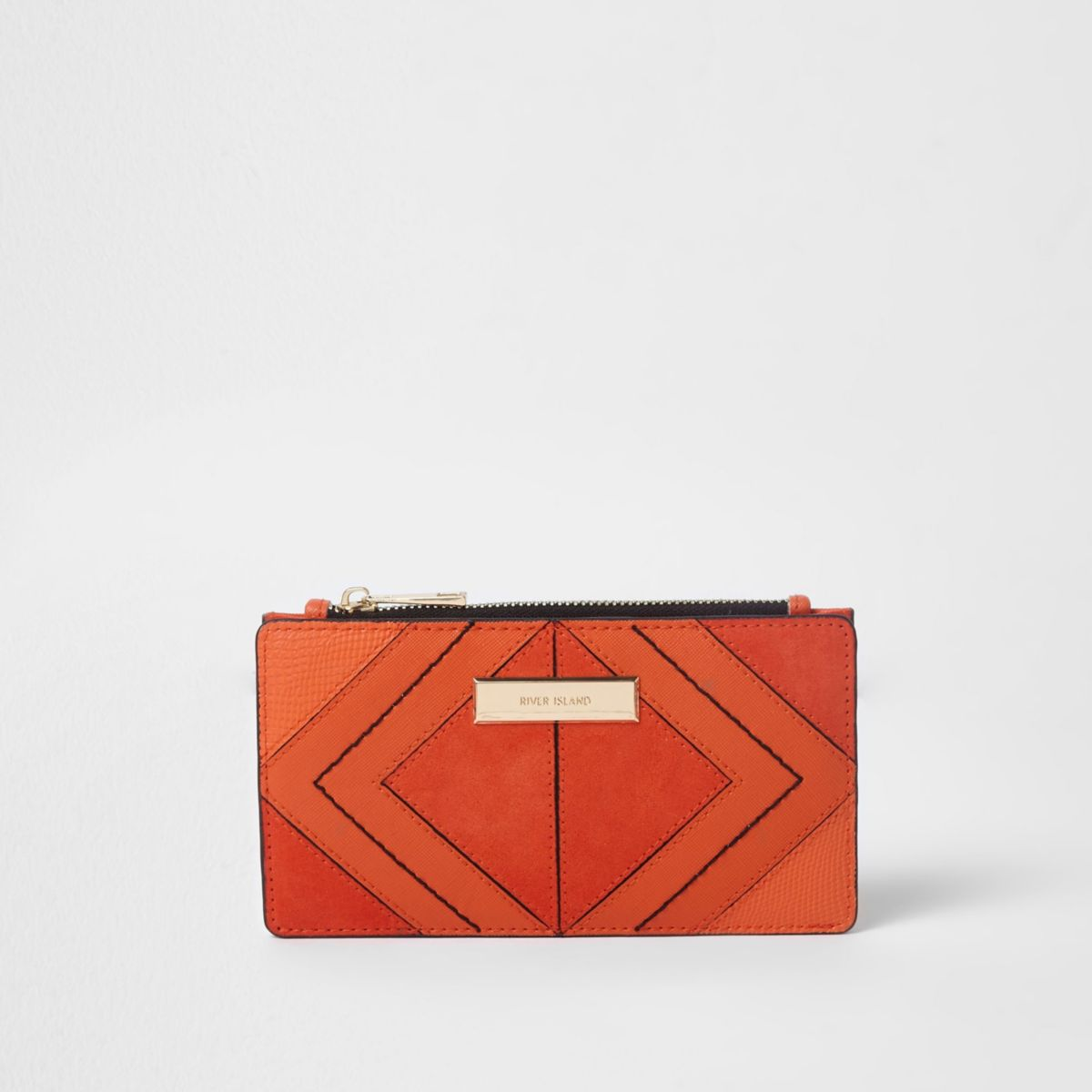 Orange diamond panel slim foldout purse