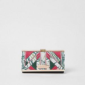 Porte-monnaie vert motif palmier avec empiècement à découpe et fermoir à clip