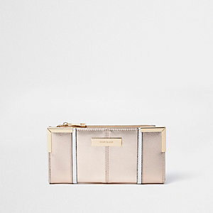 Rose gold metal corner slim foldout purse
