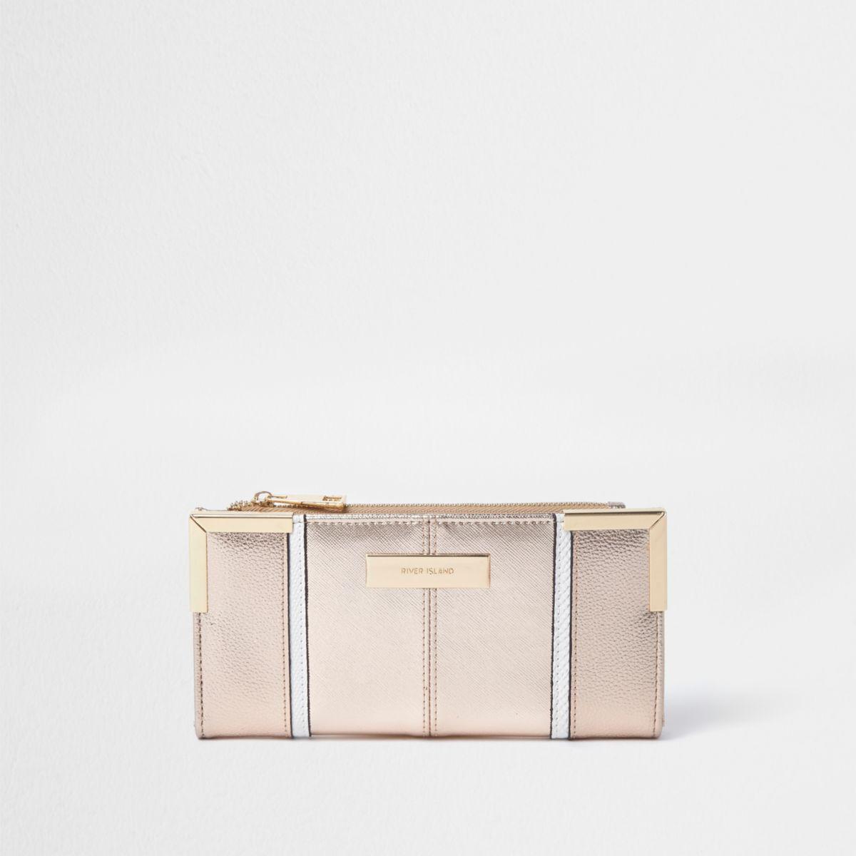 Rose gold metal corner slim foldout purse