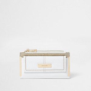 Witte uitvouwbare portemonnee met glitterpaneel