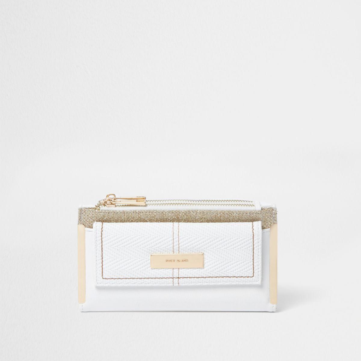 White glitter panel foldout purse