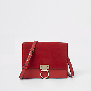 Red suede hoop lock leather cross body bag