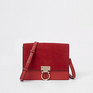Red suede hoop lock leather cross body bag