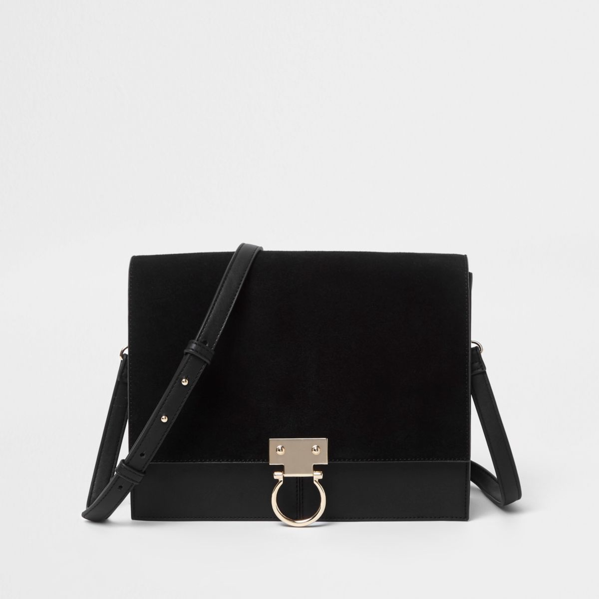 Black suede hoop lock leather cross body bag