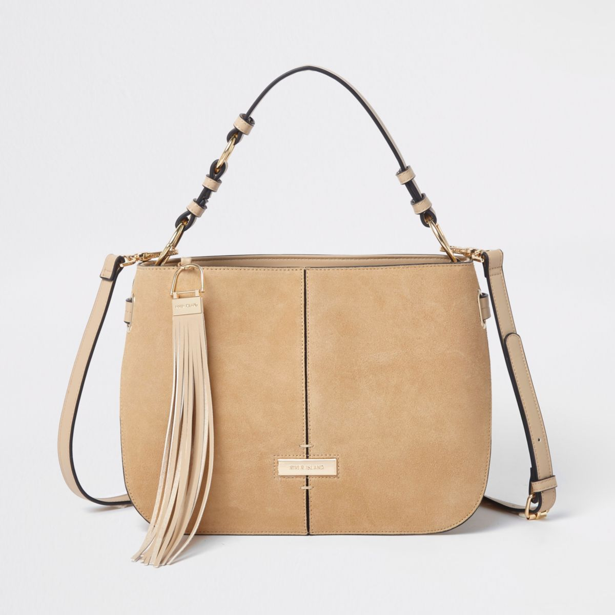 Cream suede tassel leather cross body bag
