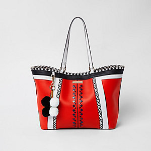 Red geo print oversized shopper bag