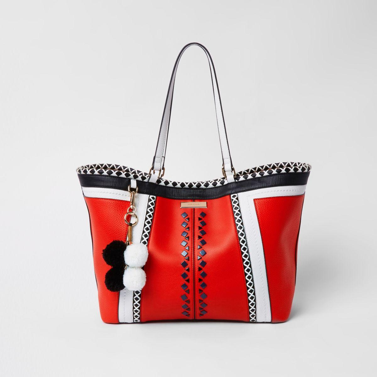 Red geo print oversized shopper bag