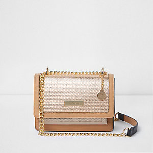 Gold metallic woven cross body chain bag