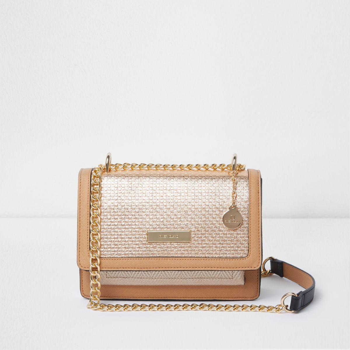 Gold metallic woven cross body chain bag