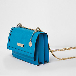 Blue cross body chain bag