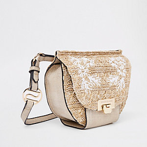 Beige woven embroidered bum bag