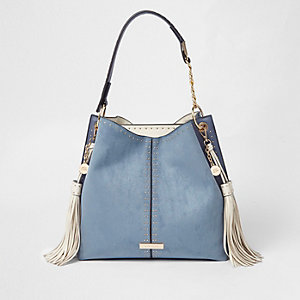 Blue studded tassel side slouch tote bag