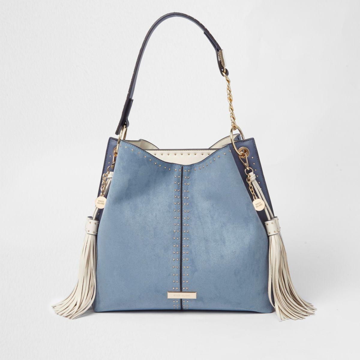 Blue studded tassel side slouch tote bag