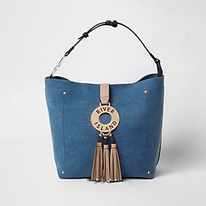 Blue denim look hoop tab slouch bag