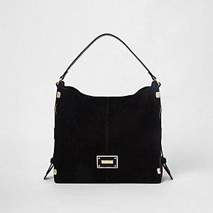 Black side tab slouch bag