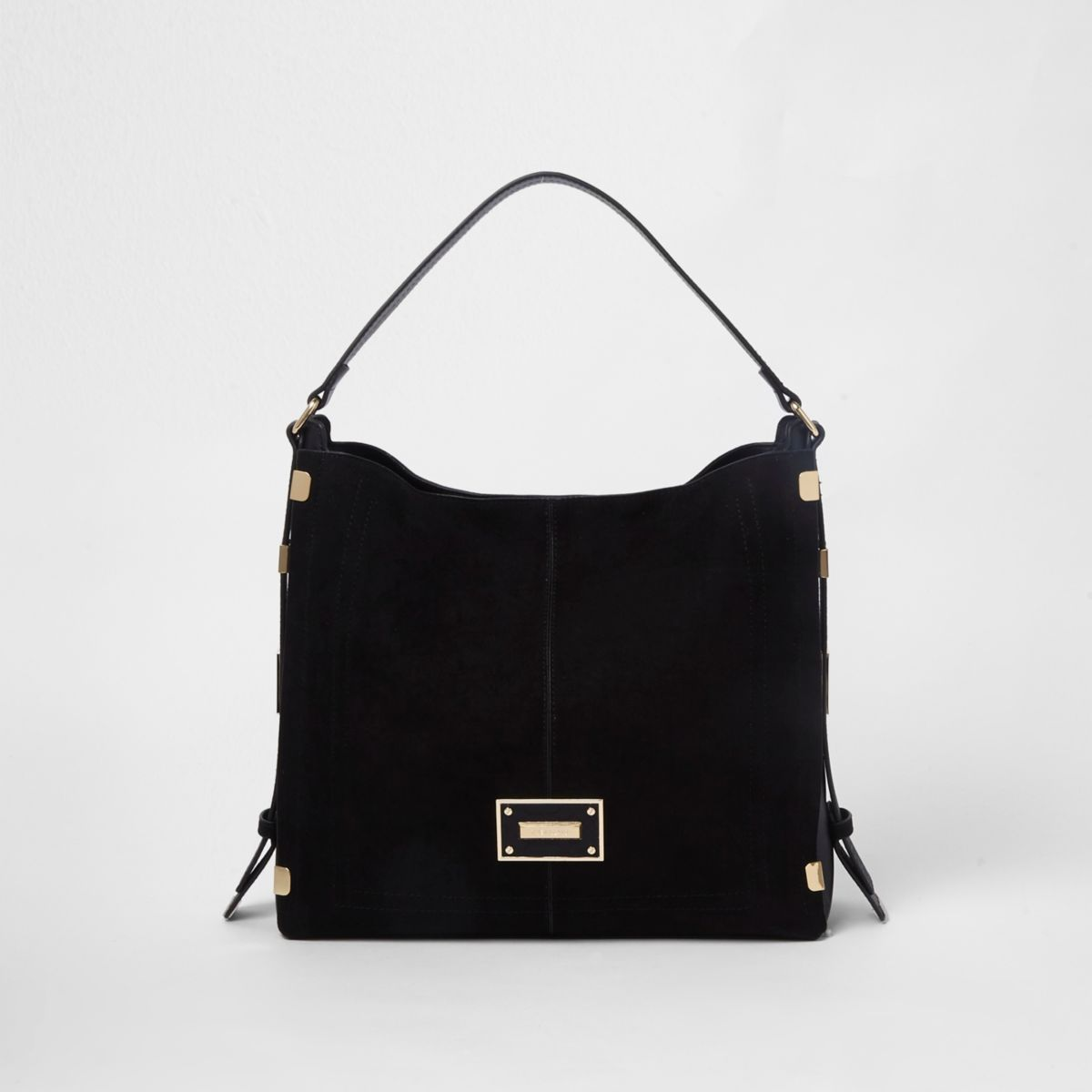 Black side tab slouch bag