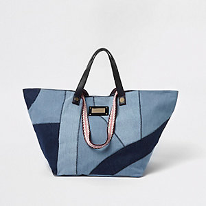 Blue patchwork denim oversized shopper bag
