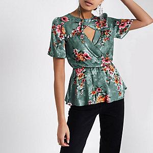 Green floral print  twist neck peplum top