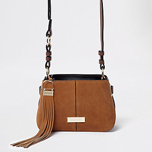 Tan suede tassel leather cross body bag