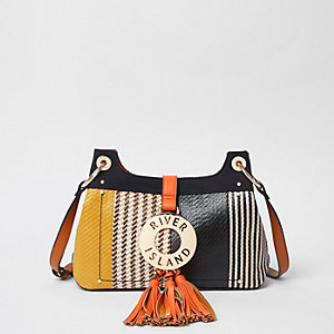 Black woven RI ring tassel cross body bag