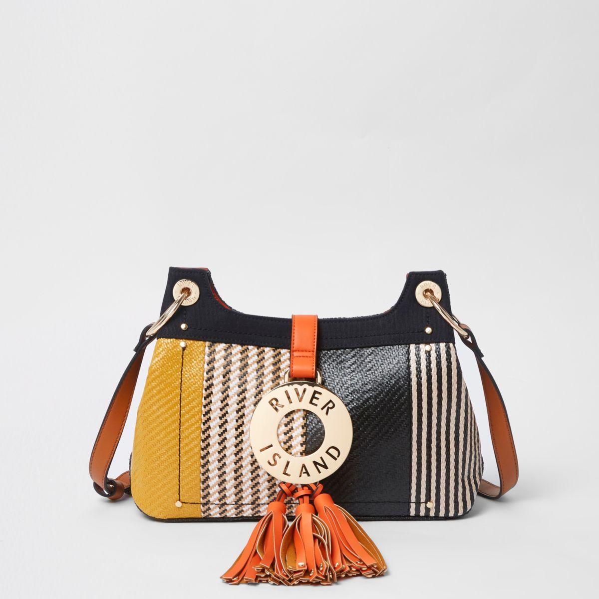 Black woven RI ring tassel cross body bag
