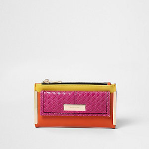 Pink colour block pocket front foldout purse