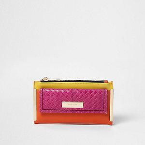 Pink colour block pocket front foldout purse