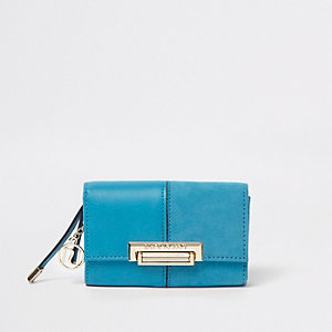 Blue flap over lock front purse
