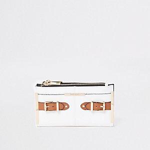 Witte uitvouwbare portemonnee met zijlusje