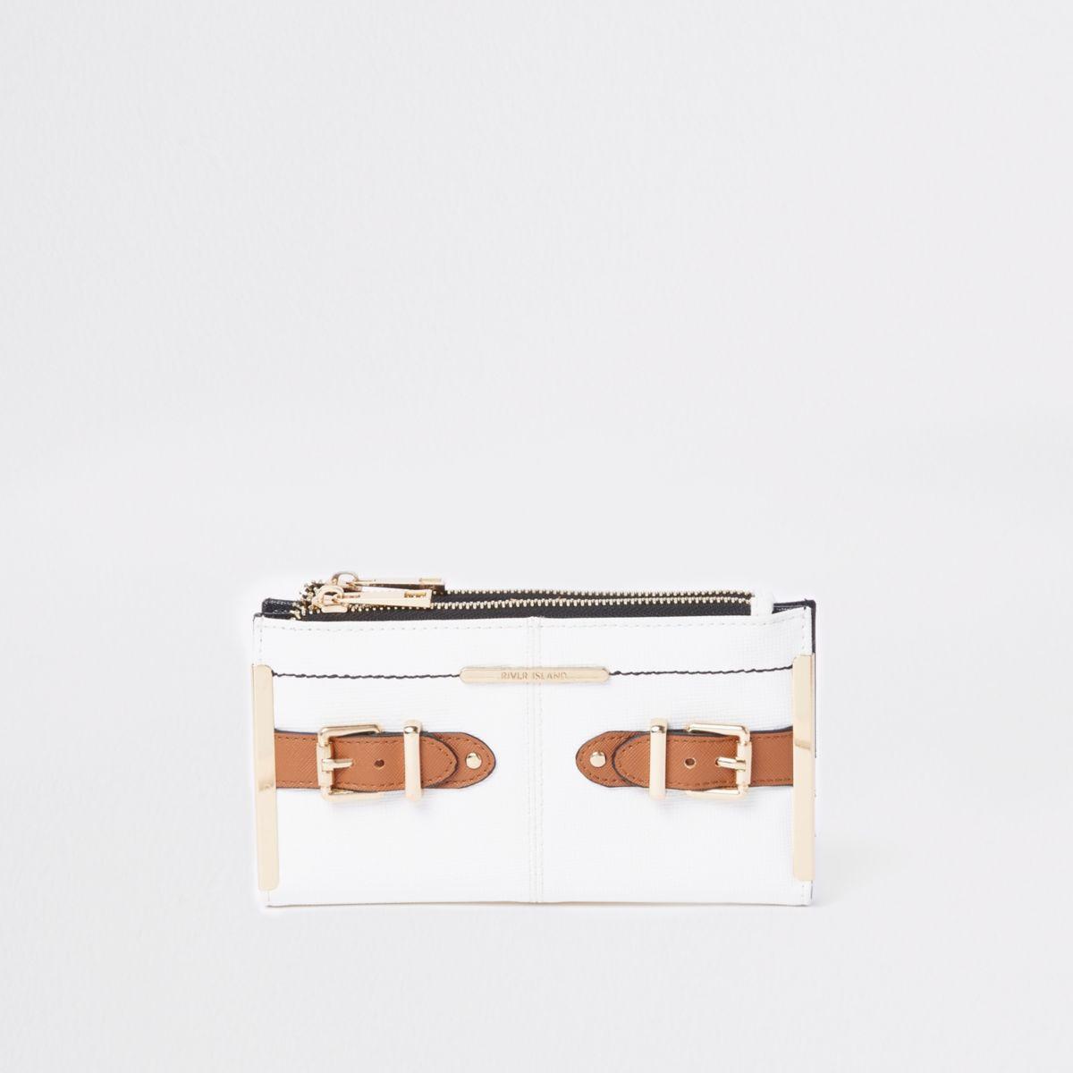 White tab side foldout purse