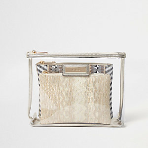 Metallic clear woven make-up bag set